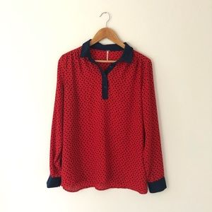 Free People Red Blue Horse Print Blouse